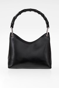 Gucci Black Leather Bamboo Handle Shoulder Bag