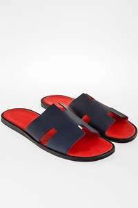 Hermès Izmir Blue Leather Sandals / Size: 44 - Fit: True to size
