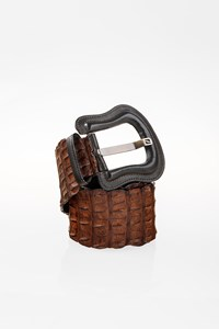 Fendi Brown Crocodile Skin Belt