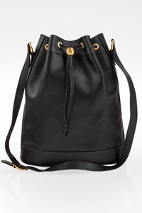 Gucci Vintage Black Leather Bucket Bag