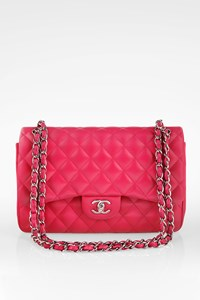 Chanel Fucshia Quilted Leather Jumbo Double Flap Bag