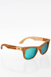 Zylo Unisex Natural Wooden Sunglasses with Blue Mirror Lenses