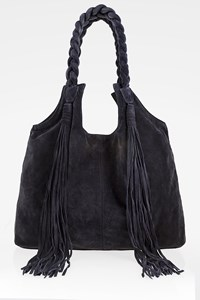 GRECIAN CHICK Blue Suede Fringe Shopping Bag