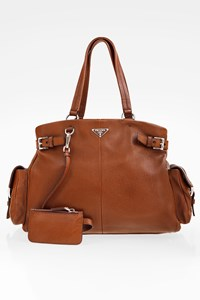 Prada Brown Vitello Daino Leather Shoulder Bag