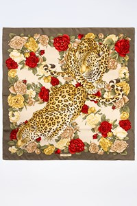 Salvatore Ferragamo Multicoloured Silk Scarf with Leopard Print