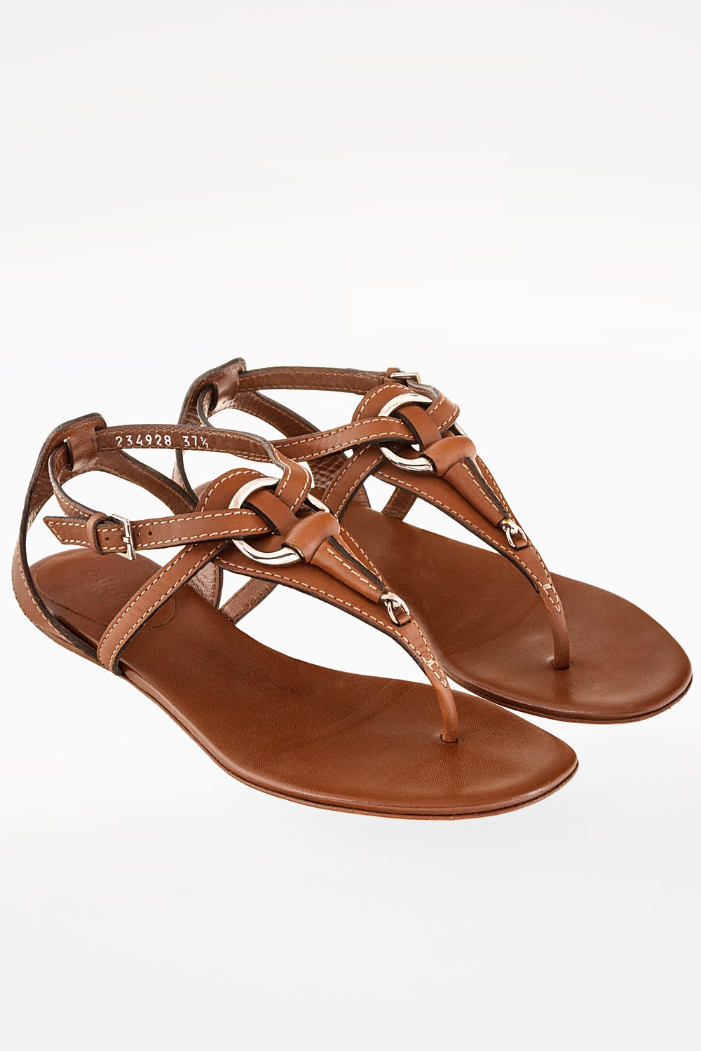 Tan Leather Strappy Sandals / Size: 37