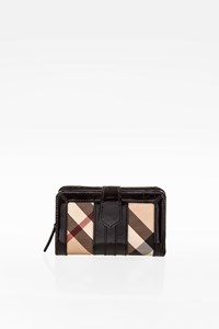 Burberry Nova Check and Black Patent Leather Wallet