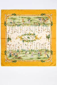 Salvatore Ferragamo Ecru Silk Printed Scarf with Yellow Trim