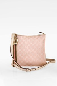 Gucci GG Pink Canvas Cross Body Bag with Off White Leather and Charms