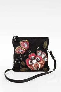 Prada Black Tessuto Flower Crossbody Bag