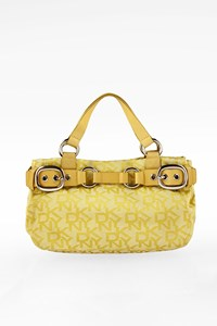 Dkny Yellow Logo Printed Canvas Tote