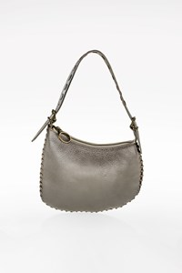 Fendi Silver Metallic Leather Pochette with Woven Details