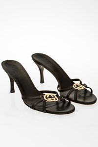 Gucci Black Leather Strappy Mules / Size: 7B - Fit: 37.5