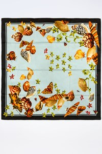 Gianni Versace Multicoloured Scarf with Butterflies and Seashells