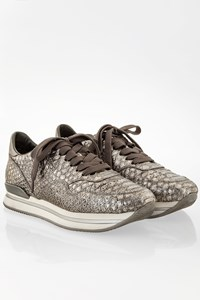 Hogan Silver Allacciato Python Print Metallized Leather Sneakers / Size: 37.5 - Fit: 37