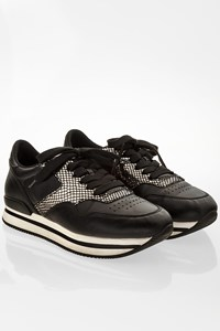 Hogan Black Allacciato Leather Sneakers / Size: 37 - Fit: True to size