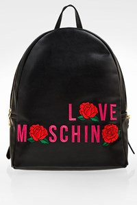 Love Moschino Black Roses Artificial Leather Backpack