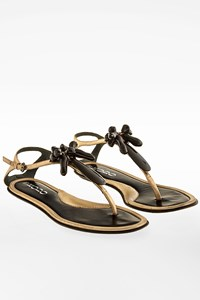 Rodo Gold Leather Sandals with Resin Details / Size: 37.5 - Fit: True to size