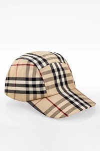Burberry London Beige Checked Cotton Baseball Cap Hat