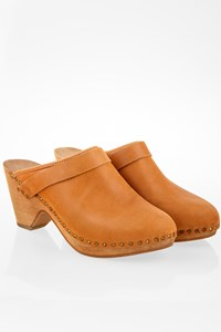 Isabel Marant Towson Tan Leather Clogs with Wooden Heels / Size: 39 - Fit: True to size