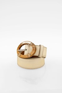 Prada Ecru Leather Belt with Wooden Buckle