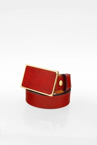 Dsquared2 Red Leather Belt with Logo Buckle