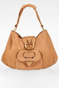 Tod's Large Beige Leather Hobo Bag with a Front Pocket