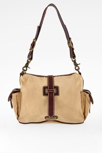 Ralph Lauren Desert Beige Canvas Shoulder Bag with Side Pockets