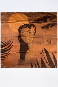 CUSTO Vintage Large Bronze Silk Scarf