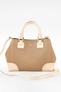 Tory Burch Beige Leather Small Tote Bag with Shoulder Strap