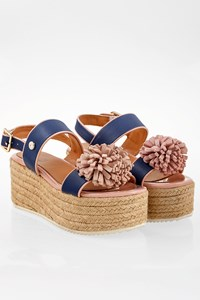 Love Moschino Blue Leather Platform Sandals / Size: 37 - Fit: 36.5