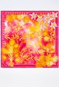 Yellow and Fuschia Floral Silk Scarf