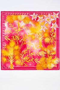 Atelier Versace Yellow and Fuschia Floral Silk Scarf