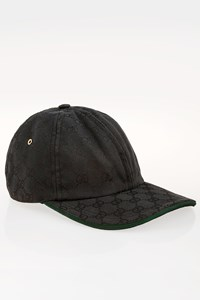 Gucci Black Logo Baseball Cap with Signature Green Stripe