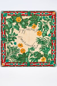 "Cartier ""Emeralds"" Silk Scarf"