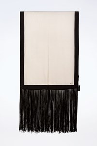 Gucci Silk White - Black Shawl with Long Fringes
