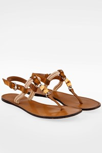 Gucci Tan Leather Rope and Bamboo Sandals / Size: 39 - Fit: True to size