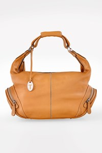 Tod's Beige Leather Shoulder Bag with Side Pockets