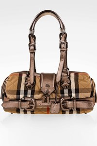 Burberry Large Quilted Check Tote with Metallic Silver Leather and Handles