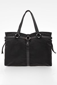 Longchamp Black Nylon Tote Bag with Leather Handles