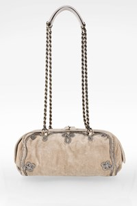 Bottega Veneta Beige-Grey Velour Shoulder Bag