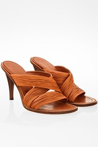 YSL Tan Plissé Leather Sandals / Size: 36.5 - Fit: True to size