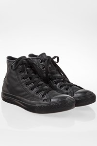 Converse All Star Black Chuck Taylor All Star Mono Leather High Top Sneakers / Size: 37 - Fit: True to size