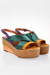 Lanvin Tricolour Satin-like Platforms with Raffia / Size: 40 - Fit: True to size