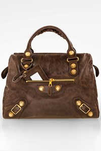 Balenciaga Chocolate-Brown Giant 21 Gold Midday Handbag
