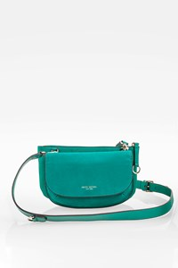 "Henri Bendel Teal Blue Leather ""Double"" Shoulder Mini Bag"