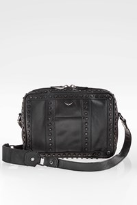 Zadig & Voltaire Black Leather Shoulder Bag with Studs