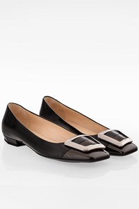 Prada Black Patent Leather Ballerinas with Buckle / Size: 38.5 - Fit: 39