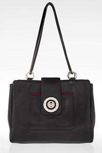 Bulgari Black Leather Shoulder Bag