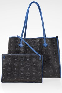 MCM Black-Electric Blue Kira Visetos Shopper Bag with Pochette